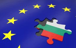Bulgaria and EU. 3d illustration. Puzzle piece with Bulgaria flag Stock Images