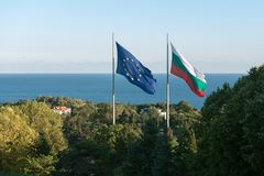 Bulgaria and European Union flags Stock Photography