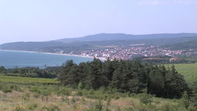 Bulgaria: Fields on the coast and Byala town. Bulgaria - occupies a leading position among the Balkan countries on the cultivation of grapes and sunflowers, the stock video footage