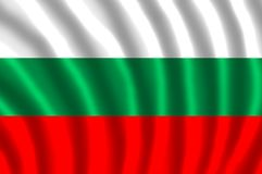 BULGARIA FLAG FLUTTERING. The flag of Bulgaria is a tricolour consisting of three equal-sized horizontal bands of from top to bottom white, green, and red. The Royalty Free Stock Photo