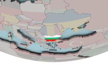 Bulgaria with flag on globe. 3D illustration of Bulgaria with embedded flag on political globe. 3D render Stock Photography