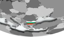 Bulgaria with flag on globe. 3D render of Bulgaria with flag on grey globe. 3D illustration Stock Image