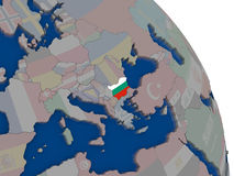 Bulgaria with flag on globe. Bulgaria with embedded national flag on globe. Highly detailed 3D illustration with accurate flag colors and country borders Stock Images