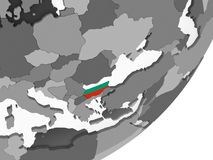 Bulgaria with flag on globe. Bulgaria on gray political globe with embedded flag. 3D illustration Royalty Free Stock Photo