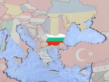 Bulgaria with flag on globe Royalty Free Stock Photos