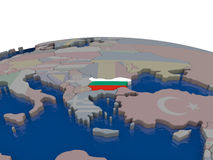 Bulgaria with flag. Flag of Bulgaria on globe. Official flag colours, accurate country borders. 3D illustration Stock Image