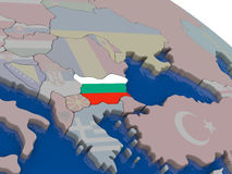 Bulgaria with flag. Highlighted on model of globe. 3D illustration Stock Photography