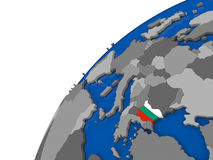 Bulgaria with flag on political globe Royalty Free Stock Image