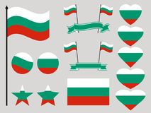 Bulgaria flag set. Collection of symbols heart and circle. Vector Stock Photography