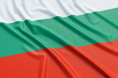 Bulgaria flag. Wavy fabric high detailed texture. 3d illustration rendering Royalty Free Stock Image