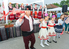 Bulgaria. Folk dance of the elderly and children at the Nestenar Games in the village of Bulgarians Stock Image