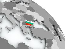 Map of Bulgaria with flag on globe. Bulgaria on globe with flag. 3D illustration Royalty Free Stock Image