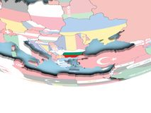 Map of Bulgaria with flag on globe. Bulgaria on globe with flag. 3D illustration Royalty Free Stock Photo