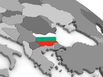 Bulgaria on globe with flag Royalty Free Stock Photo