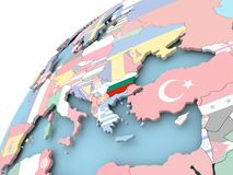 Bulgaria on globe with flag. Map of Bulgaria on political globe with embedded flag. 3D illustration Stock Images