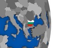 Bulgaria on globe with flag Stock Photo