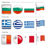 Bulgaria and Greece, Malta Flag Icon. The world national Icon De Stock Photos