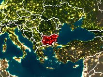 Map of Bulgaria at night. Bulgaria highlighted in red from Earth's orbit at night with visible country borders. 3D illustration. Elements of this image Royalty Free Stock Photos
