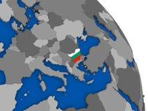 Bulgaria and its flag on globe Royalty Free Stock Photos