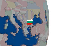 Bulgaria with its flag. Map of Bulgaria with its flag on globe. 3D illustration Royalty Free Stock Image