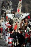 Bulgaria Kukeri Masquerade. Pernik, Bulgaria - January 26, 2008: Unidentified boy with traditional Kukeri costume are seen at the the International Festival of Royalty Free Stock Image