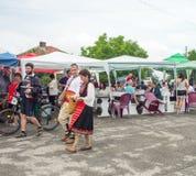 bulgaria Lieu de rencontre des amis aux jeux de Nestinar dans le village des Bulgares Images libres de droits