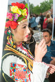 Bulgaria. A little wine before the concert on Nestenar games in the village of Bulgarians Royalty Free Stock Image