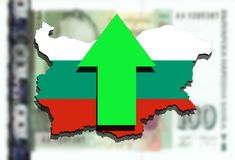 Bulgaria map on Bulgarian Lev money background and green arrow up Stock Images