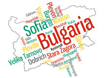 Bulgaria map and cities. Map of Bulgaria and text design with major cities Royalty Free Stock Images
