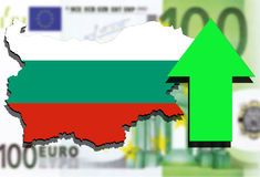 Bulgaria map on Euro Money background and green arrow up Stock Image