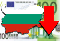 Bulgaria map on Euro Money background and red arrow down Stock Image