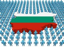 Bulgaria map flag with people Royalty Free Stock Photos