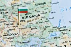 Bulgaria map flag pin. Closeup shot of Bulgaria flag pin on map stock image