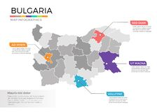 Bulgaria map infographics vector template with regions and pointer marks Stock Photo