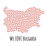 Bulgaria Map with red hearts - symbol of love. abstract background. Bulgaria Map with red hearts- symbol of love. abstract background with text We Love Bulgaria Stock Images
