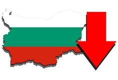Bulgaria map on white background and red arrow down Royalty Free Stock Image