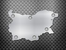 Bulgaria metal map. On a black metal grid Royalty Free Stock Photos