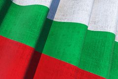 Bulgaria National Flag. Bulgarian National Canvas Flag 3D Illustration Stock Image