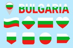 Bulgaria national flag collection. Vector Bulgarian flags set. Flat isolated icons. Traditional colors. Web, sports pages, travel, royalty free illustration