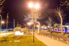 Bulgaria. Night on Yavorov Street in Pomorie stock photos