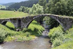 Bulgaria, medieval Stone Bridge. Bulgaria, old stone bridge near Dospat stock photo