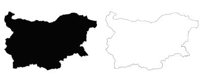Bulgaria outline map. Detailed isolated vector country border contour maps of Bulgaria on white background Stock Images