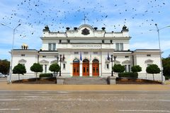 Bulgaria. Parliament building in Sofia. Ominous black crows royalty free stock photos