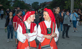 Bulgaria. Participants of the Nestenar Games in the village of Bulgari in national holiday clothes Royalty Free Stock Photography