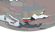 Bulgaria with flag on globe. Bulgaria on political globe with embedded flag. 3D illustration Royalty Free Stock Photo