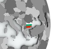 Map of Bulgaria with flag. Bulgaria on political globe with embedded flag. 3D illustration Stock Image