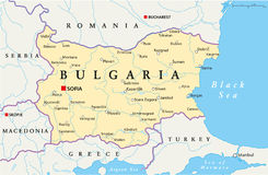 Bulgaria Political Map. Political map of Bulgaria with the capital Sofia, national borders, most important cities, rivers and lakes. Vector illustration with Royalty Free Stock Image