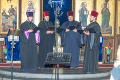 Bulgaria. Pomorie. Singing young Ukrainian priests at the festival of Orthodox music. Pomorie - famous resort town in Bulgaria. In summer it is a popular tourist royalty free stock images