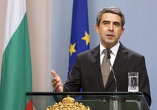 Bulgaria President Plevneliev Budget Veto. Sofia, Bulgaria - August 7, 2013: Bulgarian President Rosen Plevneliev gesture during news conference in Sofia Stock Image