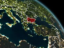Bulgaria in red at night. Bulgaria from orbit of planet Earth at night with visible borderlines and city lights. 3D illustration. Elements of this image Royalty Free Stock Image